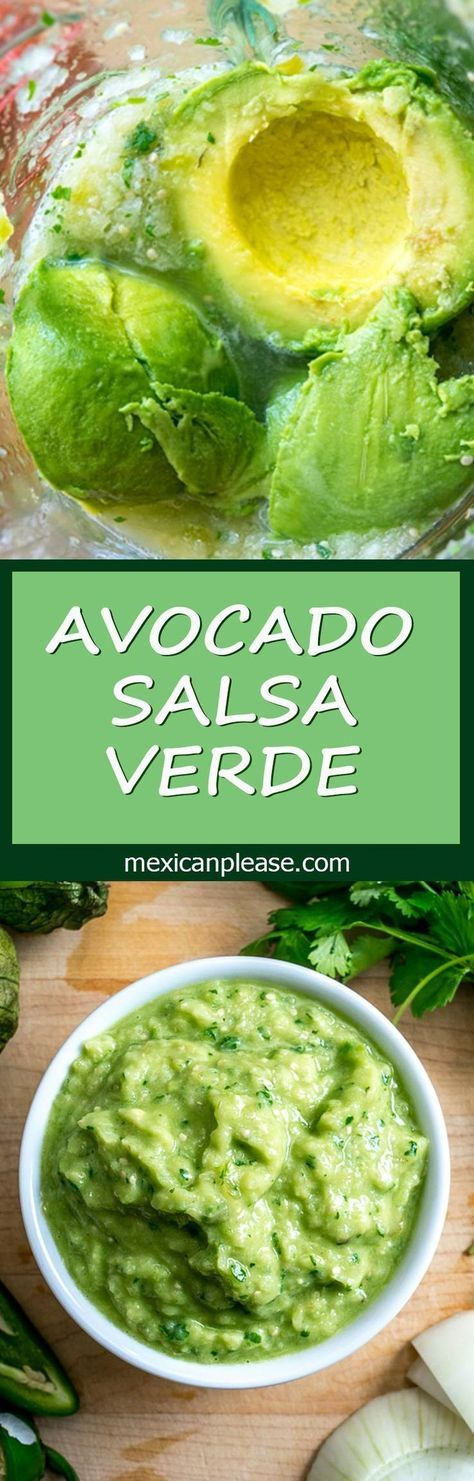 Avocado Salsa Verde has one of the best flavor-to-effort ratios in all of Mexican cuisine. You'll get incredible flavor from very little effort by using just a few key ingredients. So good! http://mexicanplease.com