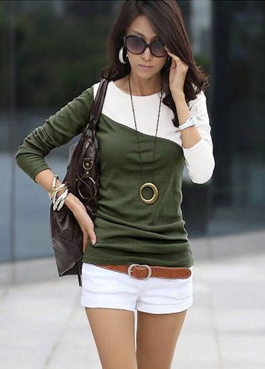 Grey and White Color Matching Autumn T Shirt