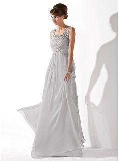 A-Line/Princess Scoop Neck Floor-Length Chiffon Prom Dress With Ruffle Beading (018005096)