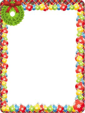 A wreath and colorful, snowflake Christmas tree ornaments decorate this free…
