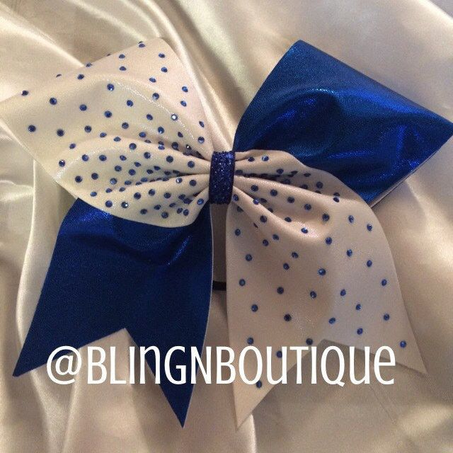 Get all blinged out with this white and royal blue mystique cheer bow with 210 royal 3mm rhinestones. Search DaBling and check out all the other colors this is available in. Don't see your color? Clic