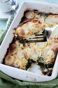 Found on bestfeed.net            Spinach, Feta, and Potato Gratin.