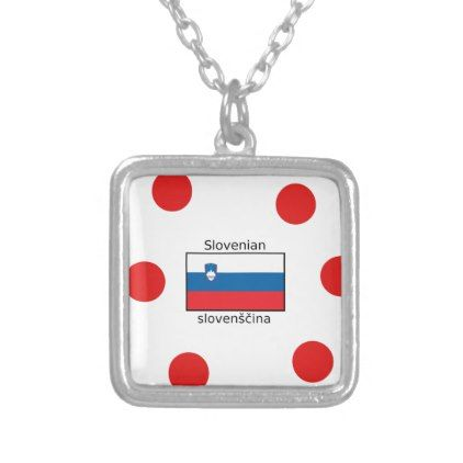 Slovenian Language And Slovenia Flag Design Silver Plated Necklace - jewelry jewellery unique special diy gift present