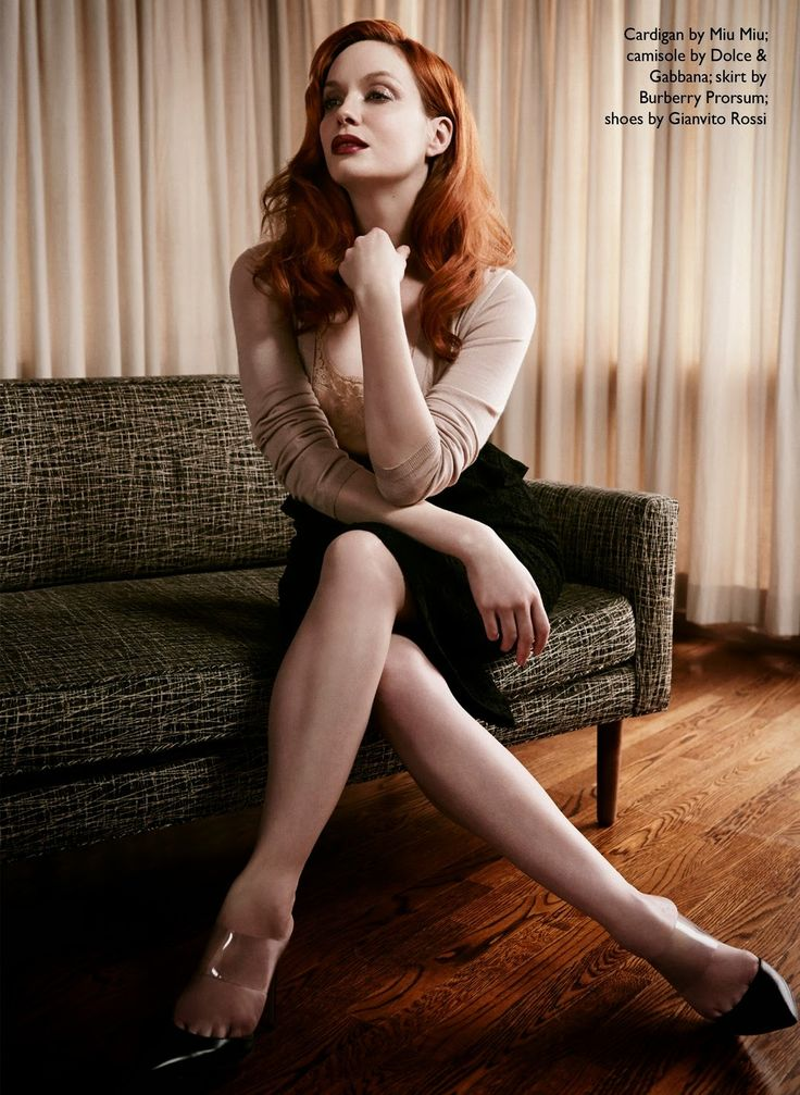 Christina Hendricks wearing a Miu Miu cardigan, Burberry Prorsum skirt and Gianvito Rossi shoes for The Edit