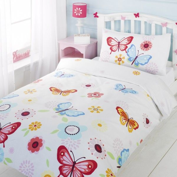 Butterflies Duvet Cover - great idea for a girls butterfly inspired bedroom. White duvet cover with Pink, Blue & orange butterflies & flowers. This girls bedding comes in a single, double & cot bed size.