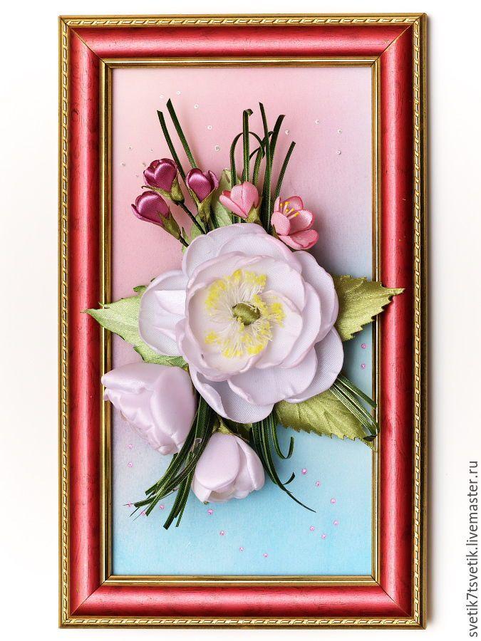 Купить Панно - зажим - брошь из атласных лент - комбинированный, оригинальный подарок, оригинальное украшение