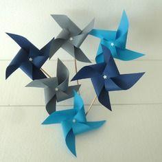 8 pics moulins à vent (gris, bleu turquoise, bleu marine) décoration de table de fête , candy bar, mariage, baptême