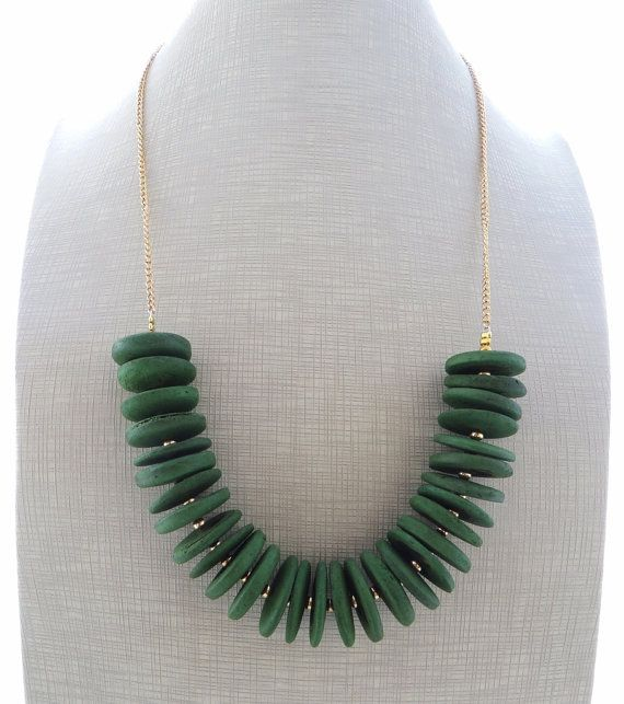Green statement necklace coconut necklace uk bib by Sofiasbijoux