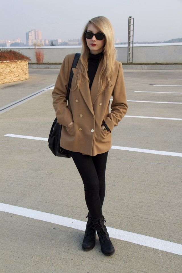 #ray #bans Ray-Ban Wayfarers, Black Turtleneck, Pea Coat, Leggings, Combat Boots