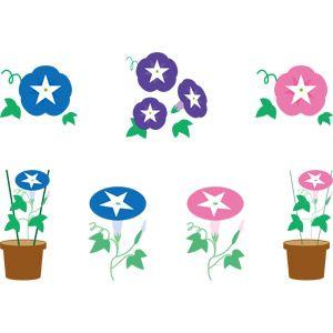 フリーイラスト, ベクター画像, AI, 植物, 花, 朝顔(アサガオ), 夏
