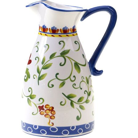 Add a pop of color to your patio party or tablescape with this bold pitcher, featuring a folk art-inspired pattern.Product: Pitch...