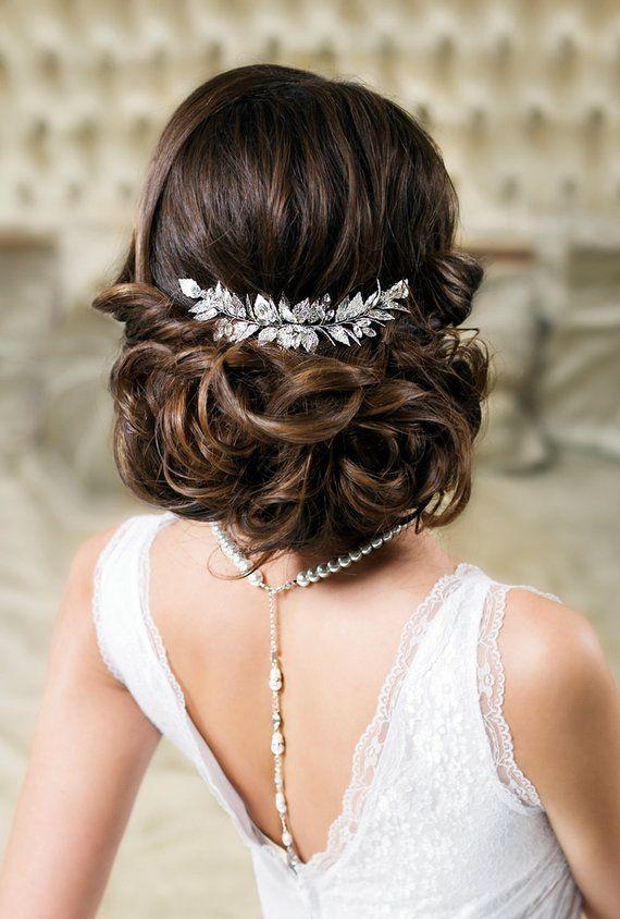 Leaf hair comb Bridal hair comb Wedding hair piece Grecian leaf headpiece Silver hair piece Laurel Goddess headpiece Gold Hair Accessory