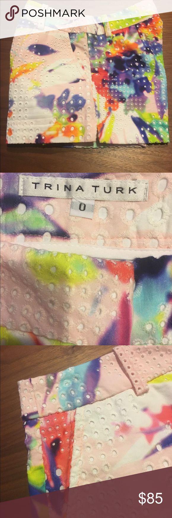 Trina Turk Eyelet Shorts Colorful Trina Turk eyelet shorts with pockets. Worn 1x. Trina Turk Shorts