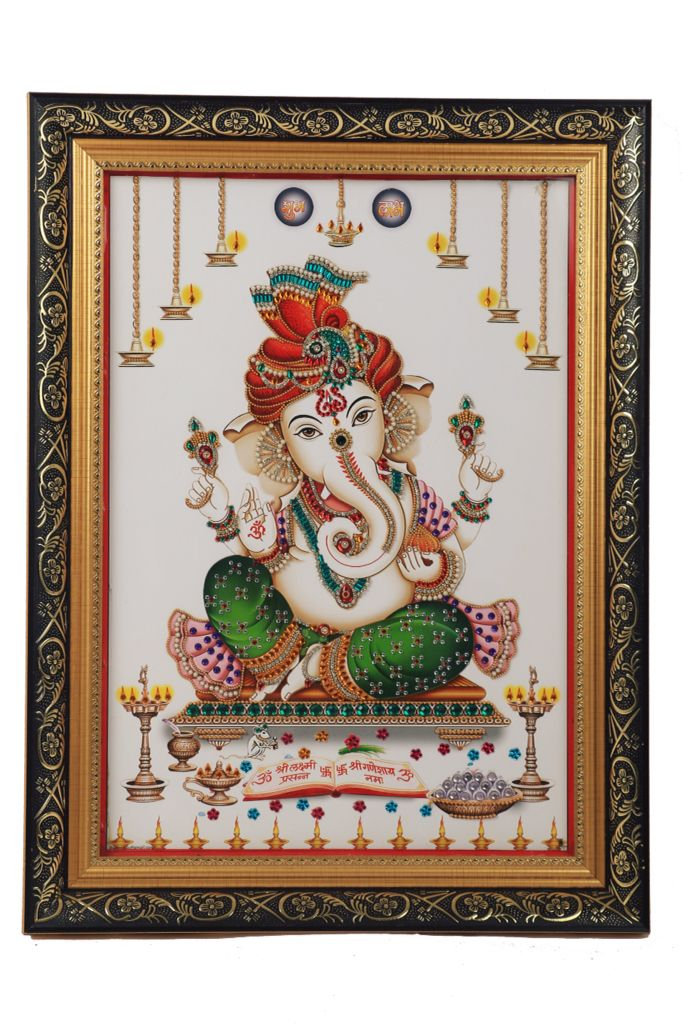 Lord Ganesha Decorated with Artificial Diamonds and Coloured Stones and framed luxuriously, A must have for home decor.....!