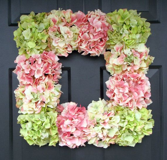 Hot glue hydrangeas onto a Dollar Tree frame for a beautiful & cheap wreath! OR you could use these as your centerpieces and put a candle in the middle.