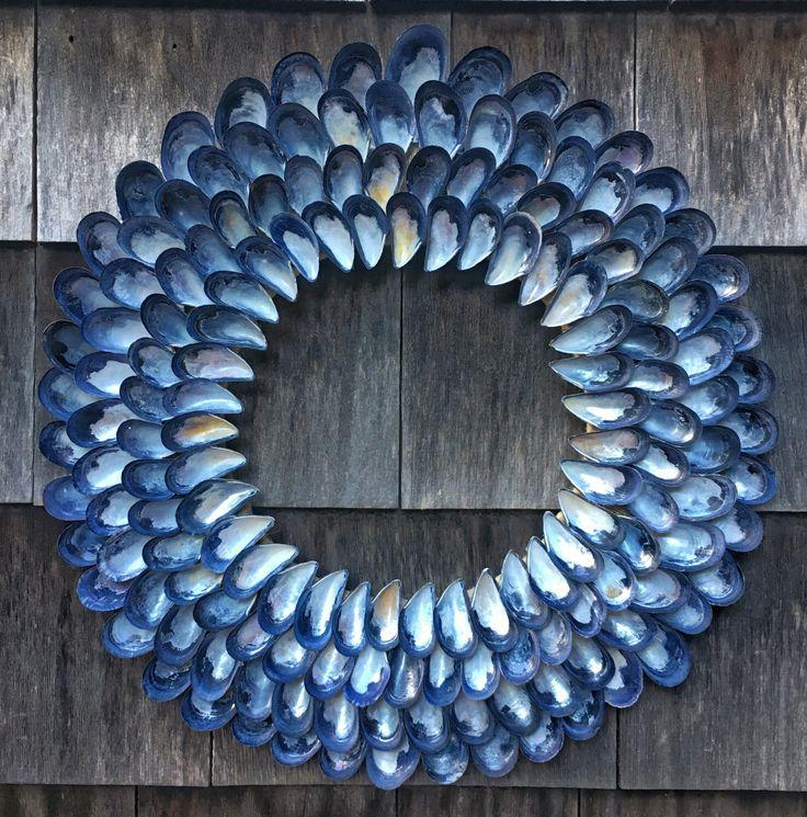 Maritime Decor - Blue Mussel Shell Wreath 17-18 inch - Coastal Wreath - Coastal Decor - Seashell Wreath - Beach Decor - Nautical Wreath by CoastalCornucopia on Etsy https://www.etsy.com/listing/476071668/maritime-decor-blue-mussel-shell-wreath