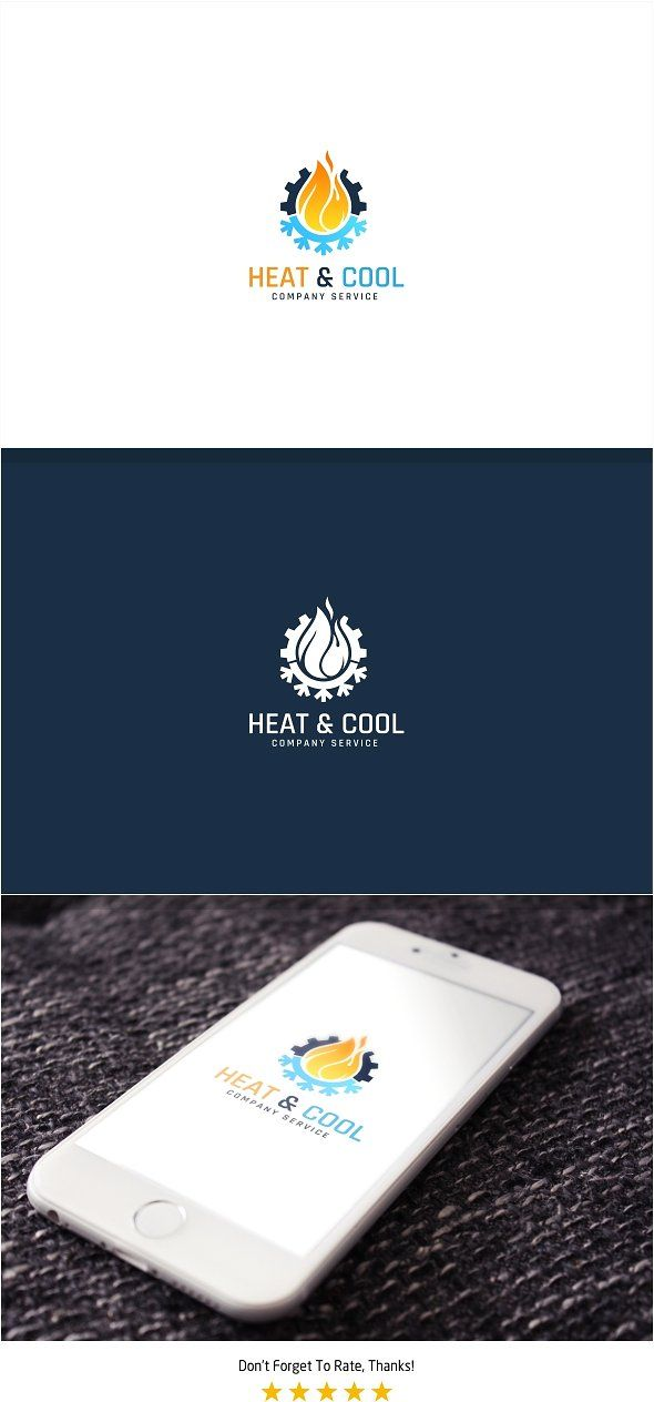 Heating And Cooling Logo Fully Element Editable Vector Logo