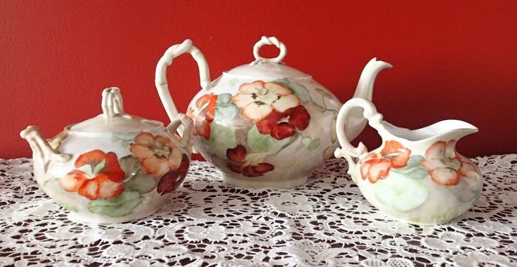 """Gorgeous Antique hand painted Jean Pouyat Limoges France Tea Set ~ hand painted with """"ROMANTIC VICTORIAN TEA Pansies"""", circa 1900 ~ Incredible French Tea Pot with Matching Sugar Bowl and Milk Creamer Hand Painted with Gorgeous Pansies ~. 