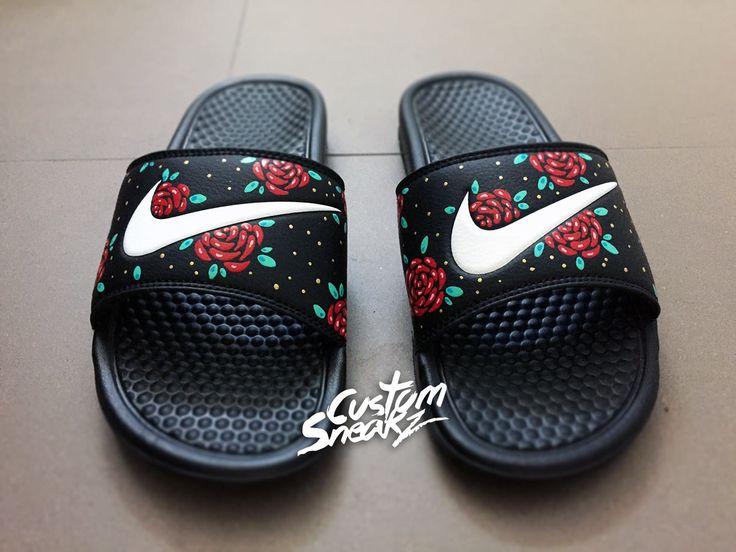 Mens Custom Nike Benassi Flip Flop Sandals, Mens Gold Custom Design, Floral, Roses, Swoosh Slide Sandals by CustomSneakz on Etsy
