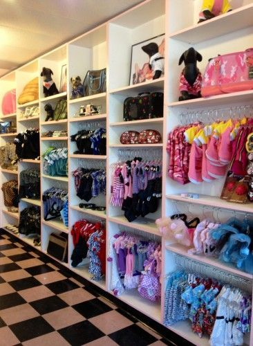 -Repinned- Pet clothing display at Bow Wow Beauty Shoppe.