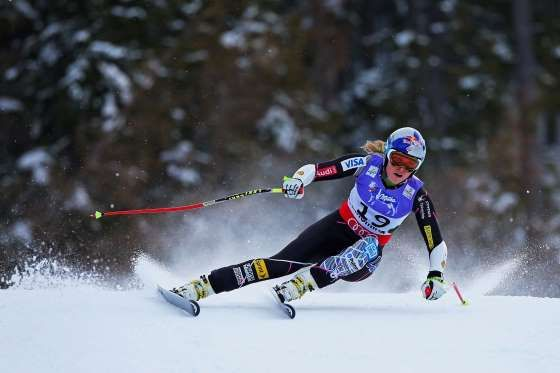 Lindsay Vonn of the United States of America skis before crashing while competing in the Women's Sup... - Alexander Hassenstein/Getty Images
