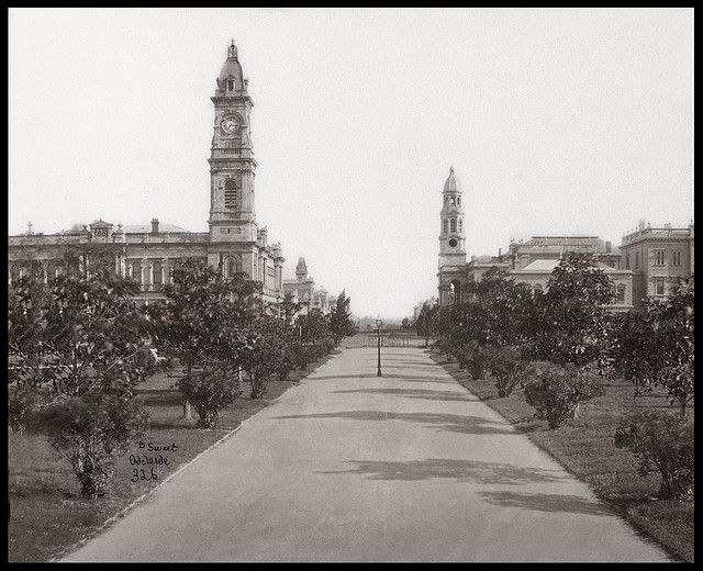 King William Street, viewing North, Adelaide, c1880, from original albumen by Sweet, 7 x 5 inches  General Post Office, with its clock tower, is on the left, Town Hall on the right    King William Street is a major arterial road that traverses the city of Adelaide (the capital of South Australia) from north to south. It is named after King William IV, the monarch at the time of South Australia's proclamation. King William Street is 132 feet wide, widest in AU