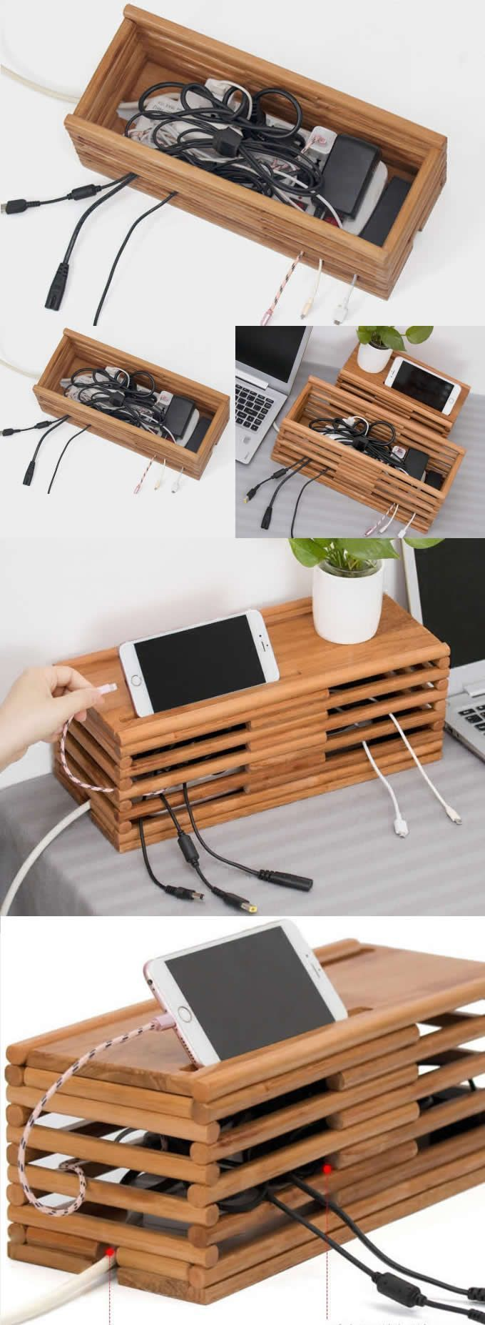 Bambus Holz Ladekabel Organizer iPad Handy Ladestation Dock Holde