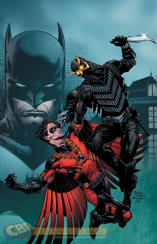 Batman, Red Robin (Tim Drake) and a Talon from the Court of Owls epic crossover storyline