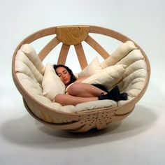 Cradle for Adults Why should babies have all the fun? We all like to feel comfortable and secure. The Cradle came out of research regarding children with RMD or rhythmic movement disorder. The chair provides a safe, relaxing environment. The entire piece is flatpack ready and all materials are sourced from environmentally friendly resources, right down to the glue that binds the initial plywood layers.