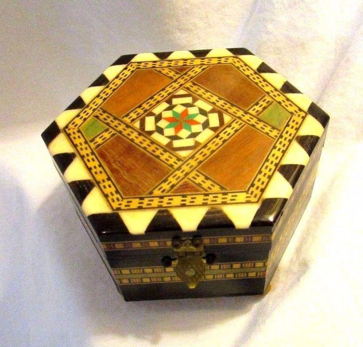 Sorrento Wood Inlay Jewelry Music Box Hexagon Shape #Unbranded