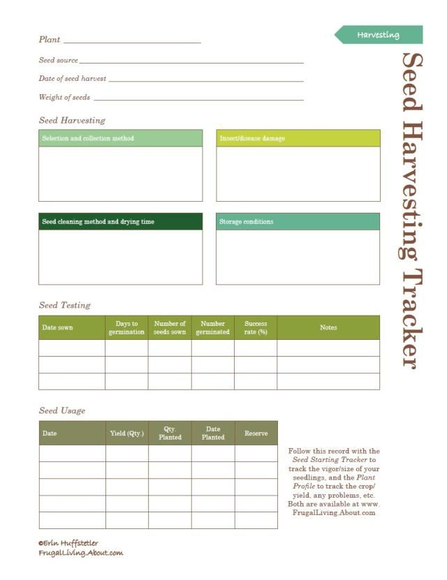 Planting a Garden? Print This Free Garden Planner: Printable Seed Harvest Tracker
