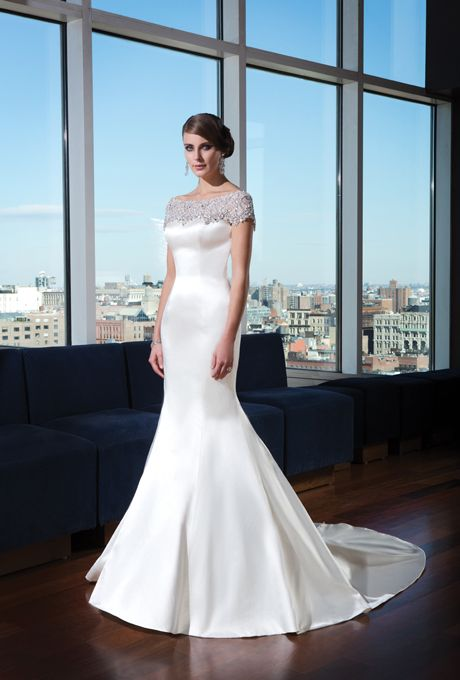 Justin Alexander Signature - Fall 2014. Style 9735, silk satin mermaid wedding dress with a heavily beaded illusion scoop neckline and cap sleeves, Justin Alexander Signature