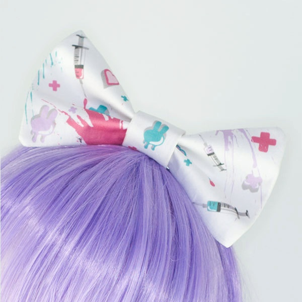 fairy kei pastel nurse guro lolita syringe hair bow headband hair bow pastels and fairy. Black Bedroom Furniture Sets. Home Design Ideas