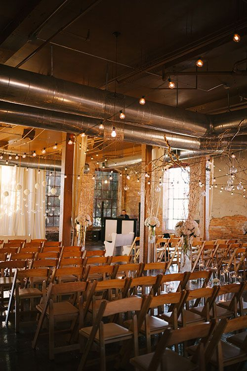Brides: Georgia Real Wedding Photos: A Glamorous-Meets-Industrial Winter Wedding at the Mill at Yellow River