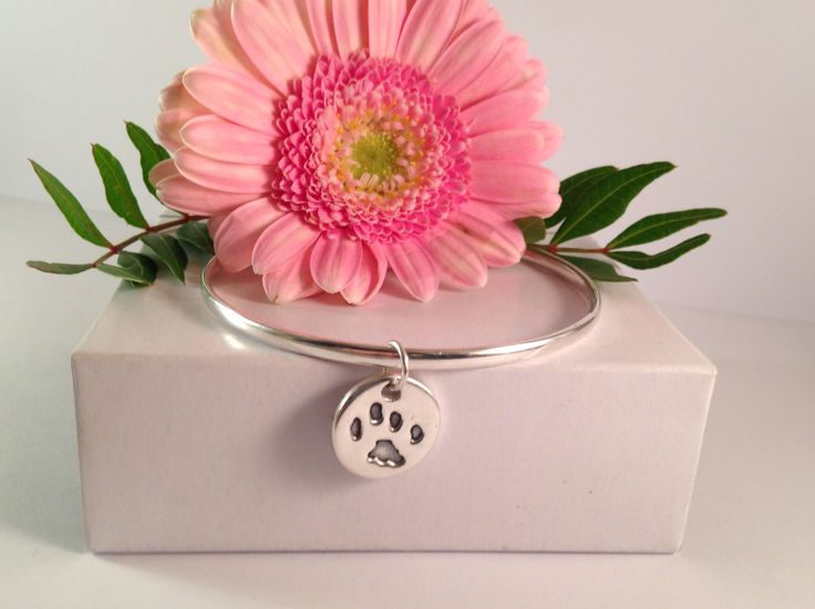 Paw print silver charm and bangle