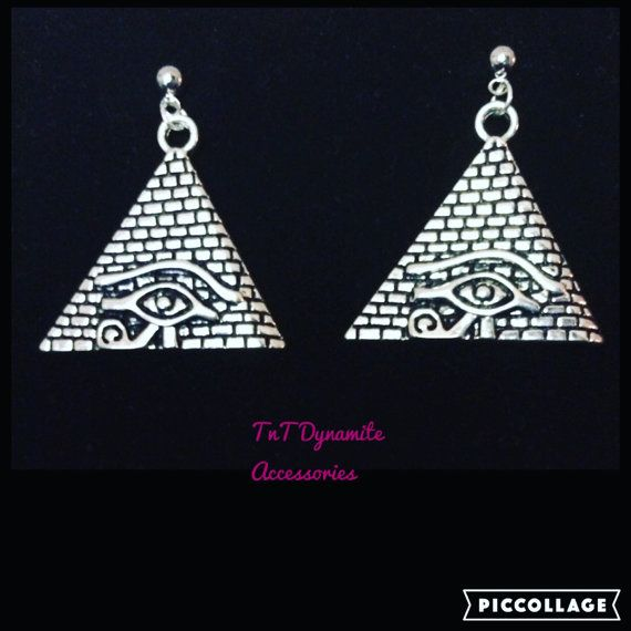 Matching earrings..Beautiful Silver Pyramid with Eye of Horus earrings  Measures about 1 x 1 1/2 inches