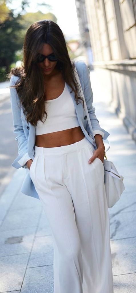 White Crop Top, White Pants + Blue Blazer