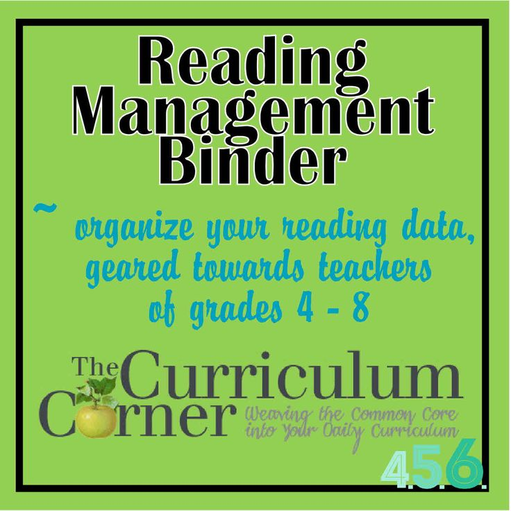 Reading Managment Binder for Grades 4 through 8