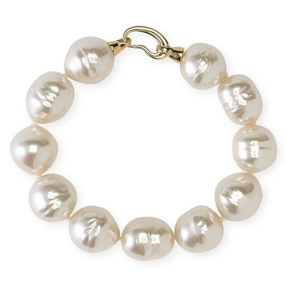Majorica 14mm Baroque Pearl Single Row Bracelet (1.305 HRK) ❤ liked on Polyvore featuring jewelry, bracelets, 18k bracelet, majorica, 18k jewelry, artificial jewellery and baroque pearl bracelet