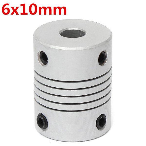 6mm x 10mm Aluminum Flexible Shaft Coupling OD19mm x L25mm CNC Stepper Motor Coupler Connector
