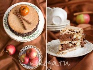 Торт «Моцарт» - Бретонское песочное тесто с корицей — Карамельные яблоки с корицей — Шоколадный мусс