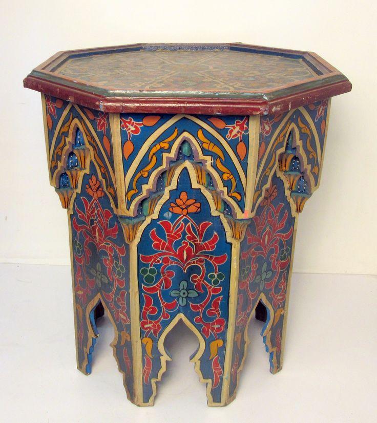 Moroccan  End Table, Octogon, Multicolor, Multi Color, Wood, H20, W18, D