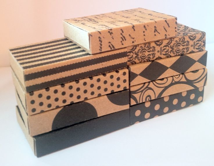 Matchboxes made from kraft cardstock in a variety of patterns in  black and kraft. ❤❤❤❤❤❤❤❤❤❤   Matchbox Greetings™ are boxes to treasure forever!  A greeting card, gift box and treasure box all in one!  Buy one pre-made or make your own with one of our kits or free templates.