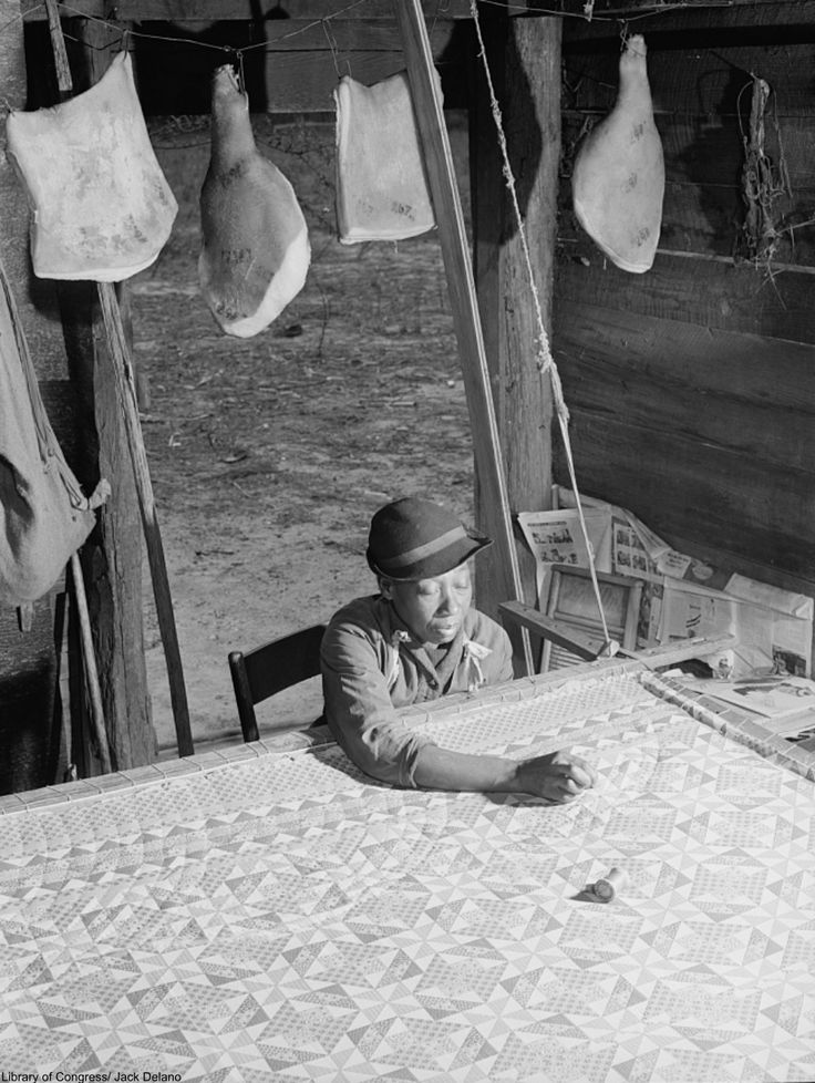 quilting inside a smokehouse during the Great Depression