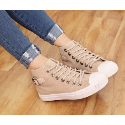 Rivets Canvas High Flat Women's Shoes Sneakers