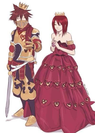 King Sora Queen Kairi is a must be and Naminé and Roxas would be Princess Naminé and the great Knight Roxas xD