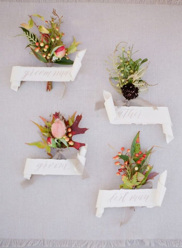 Love this concept of having Boutonnieres that are all different!