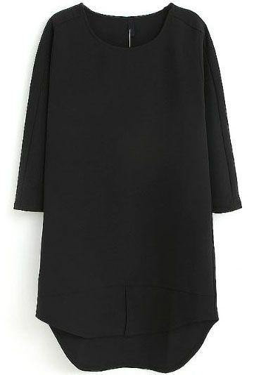 Robe trapèze et droite à mi-manche -Noir  EUR€23.26