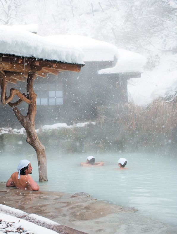 snowy hot springs | Japan. watching the snow fall while soaking an relaxing in the hot spring. #spa