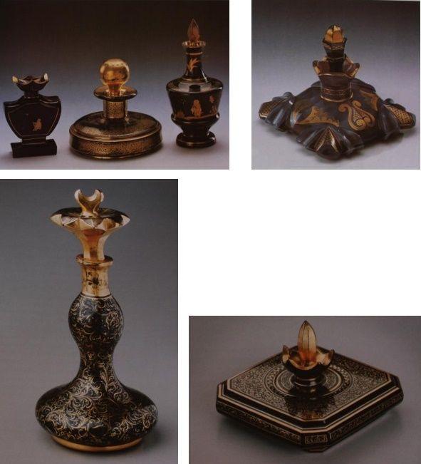 Flakóny z černého hyalitu zdobené zlatou malbou,Čechy,sklárny hraběte  Buquoye , 20.-30.léta 19.stol.